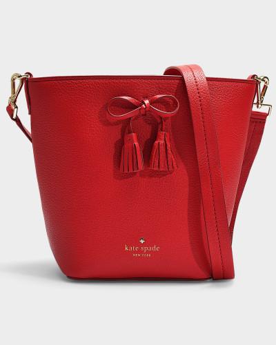 Bucket Bag Vanessa Hayes Street aus genarbtem, rotem Leder