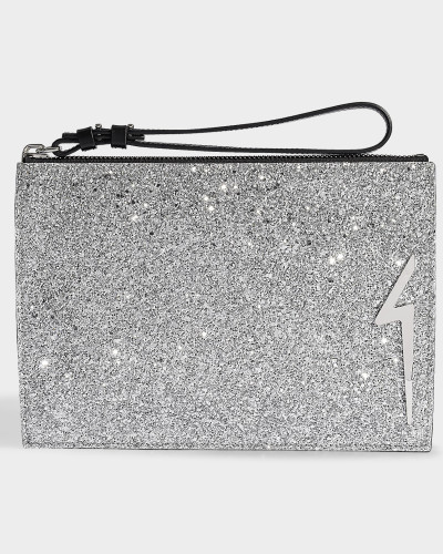 Glitter Pouch with Strap in Silver Glitters