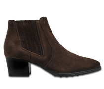 Suede pull on ankle boots
