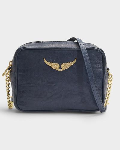 Tasche XS Boxy Crush aus marineblauem Kalbsleder