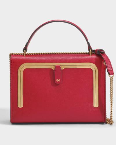 Kleine Postbox-Tasche aus rotem, genarbten Leder