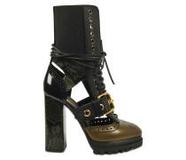 Cut-out platform boots aus Leder und Schlangenhaut