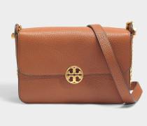 Handtasche mit Schulterriemen Chelsea aus genarbtem braunem Kalbsleder