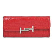 Double T Long Flap Wallet In Croc Embossed Leather