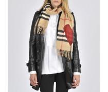 Schal aus Kaschmir Giant Check mit Herzen 168x30 cm