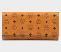 Visetos Original Tri-Fold Large Wallet in Cognac Coated Canvas