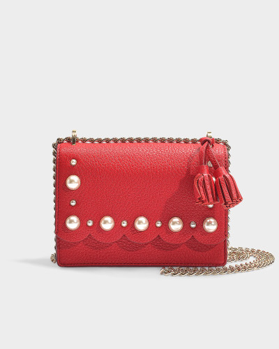 Hayes Street Pearl Hazel Crossbody Bag in Royal Red Pebble Leather
