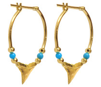 Fine Jewellery Ohrringe - 18K Gold Shark Teeth mit Türkis & Perlen aus Gelbgold
