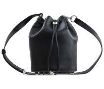 Tasche Alpha Bucket soft calf silver mat black