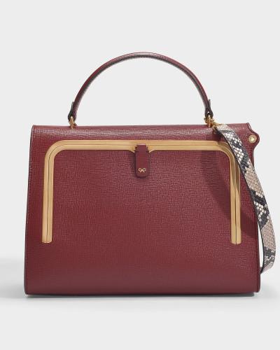 Postbox-Tasche aus Bordeauxrotem genarbten Leder mit Pythondruck-Riemen