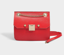 Handtasche Rebel Crossbody aus rotem und rosa Kalbsleder