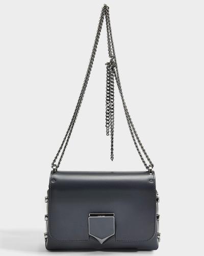 Handtasche Lockett Petite aus marineblauem Kalbsleder