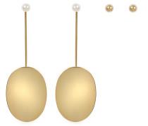 Ohrringe Ovale aus vergoldetem Messing mit Perlen