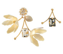 Ohrringe asymmetrisch aus Horn und Kristall