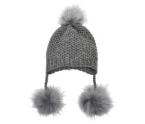 Mütze mit Pompons aus Alpaka-Wolle und Koyotenfell