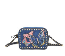 Butterflies Denim Rokstud Camera Bag