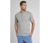 Shirt kurzarm Feinripp Henley Knopfleiste grau meliert - Selected! Premium,Shirt kurzarm Feinripp Henley Knopfleiste grau meliert -elected! Premium