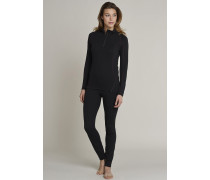 Schiesser Shirt langarm Funktionswäsche mit Zipper warm schwarz-pink - Sport Thermo Light für Damen