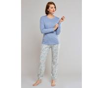 Shirt langarm mit Knopfleiste jeansblau - Mix & Relax