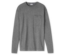 Shirt langarm Feinstrick mit Kaschmir-Touch grau meliert - Revival Karl-Heinz