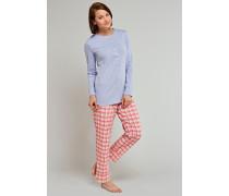 Schlafanzug lang mit Knopfleiste hellblau - a lovely kind of quiet