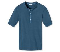 Shirt kurzarm mit Knopfleiste blau meliert- Revival Karl-Heinz