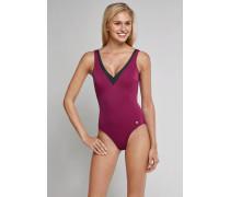 Schiesser Badeanzug mit Shape-Effekt aubergine - Aqua Raw Coast für Damen