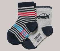 Schiesser Babysocken 2er-Pack Autos Ringel blau/grau - Cotton Fit für Jungen