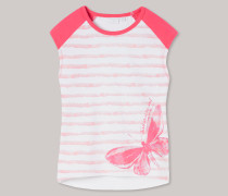 T-Shirt rundhals Raglan-Ärmel Schmetterling koralle-weiß geringelt - Butterfly für Mädchen