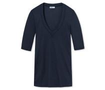 Shirt kurzarm V-Ausschnitt Doppelripp blauschwarz - Revival Marie
