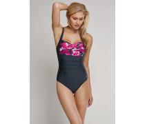 Schiesser Badeanzug mit Shape-Effekt anthrazit - Aqua Raw Coast für Damen