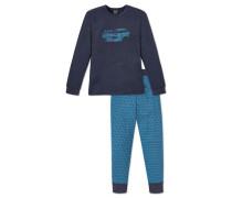 Schlafanzug lang dunkelblau bedruckt - Live & drive fast