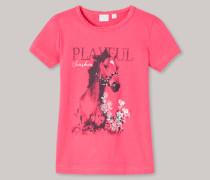 T-Shirt rundhals Pferde-Motiv Glitzer koralle - Butterfly für Mädchen