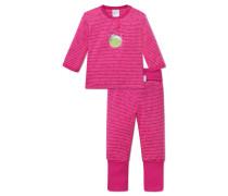 Babyanzug lang Interlock 2-teilig mit Vario pink geringelt - Hokuspokus