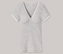 Schiesser Shirt kurzarm Doppelripp mit Spitze grau meliert - Revival Maike für Damen
