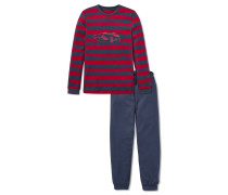 Schlafanzug lang Interlock mit Bündchen dunkelblau-rot geringelt - Live & drive fast
