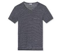 Shirt kurzarm Leinen blauschwarz geringelt - Revival Helmut