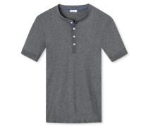 Shirt kurzarm Feinripp peached anthrazit meliert - Revival Karl-Heinz