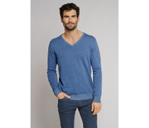 Strickpullover V-Ausschnitt blau - selected! premium