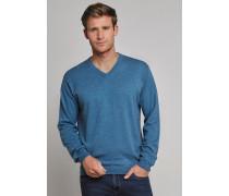 Strickpullover Kaschmir V-Ausschnitt blau meliert - Selected! Premium für Herren
