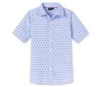Hemd kurzarm Chambray Webware blau bedruckt- Raw Denim