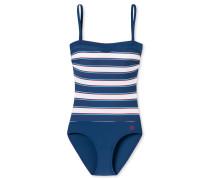 Badeanzug Streifen Bandeau abnehmbare Träger mehrfarbig - Aqua Rimini