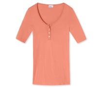 Shirt kurzarm Seamless-Feinripp mit Perlmuttknopfleiste apricot - Revival Sieglinde