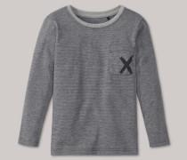 Schiesser Shirt langarm unisex Ringel grau meliert - Mix & Relax