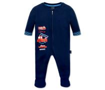 Babyanzug Interlock lang mit Fuß und Reißverschluss dunkelblau - Feuerwehrmann