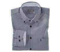 Hemd langarm bügelfrei Button-Down-Kragen blau-weiß kariert - REGULAR-FIT