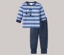 Schiesser Babyanzug 2-teilig Bündchen blau-grau geringelt - Zirkus Strong Boy für Jungen