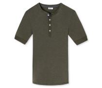 Shirt kurzarm mit Knopfleiste khaki meliert - Revival Karl-Heinz