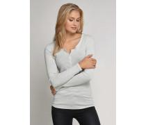 Shirt langarm mit Knopfleiste grau meliert - Selected! Premium