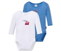 Babybodys langarm Feinripp 2er-Pack blau/weiß - Feuerwehrmann